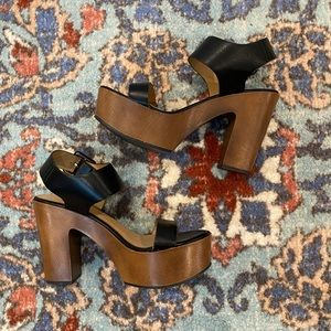 Platform Black & Brown Heel Sandals